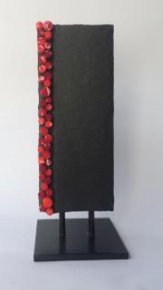 Véronique Darcon Caze - mosaique - petit totem- 6x15cm - ardoise et pâte de verre