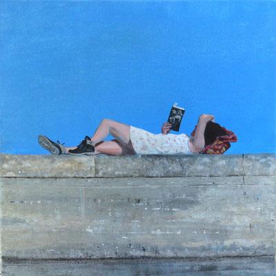 """Mehrzad Najand - peinture acrylique sur toile -"""" libre lecture """"-  40cm x 40 cm - 2016"""