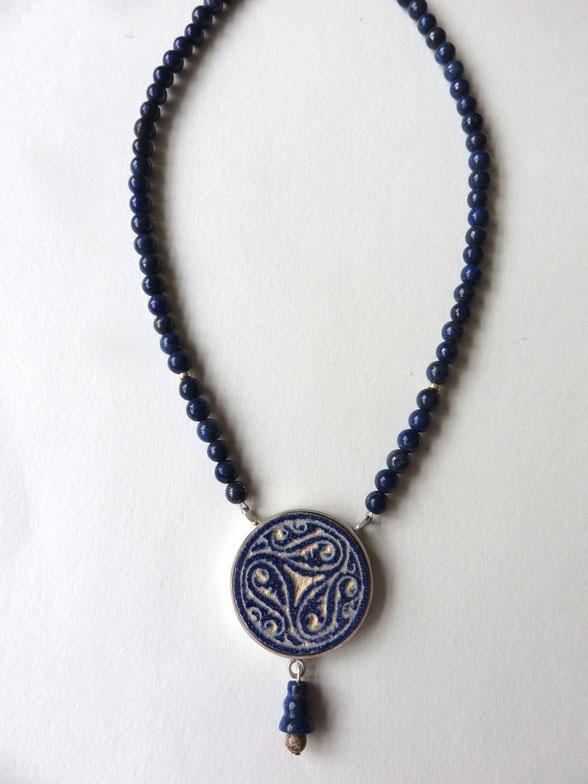 Afarin - collier fait main - argent - Lapis Lazuli - motif provenant d'une asiette Seldjoukide - XIII siècle - Iran