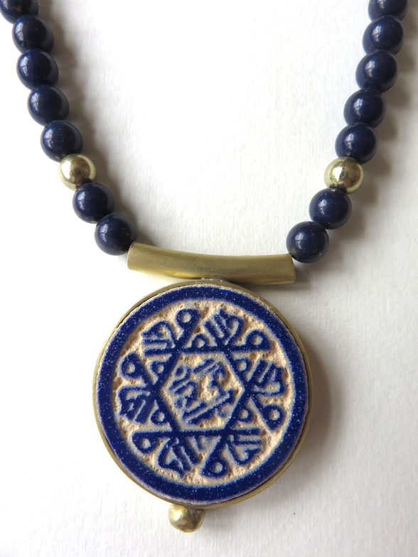 Afarin - collier fait main - laiton - lapis lazuli - motif provenant du mausolée d'Oljeitu, Soltaniyeh Zanjan - XIV siècle -Iran