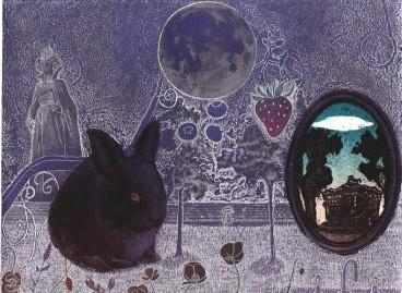 "Takako Hirano - ""la lune est pleine, aujourd'hui"" gravure - 2010 - 15x20cm"
