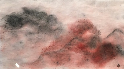 Déborah Furet - Paysage -  encre  chine , sanguine - 2021