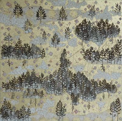 Alain Guillon - Voyage éthéré n°7 - 60x60cm - technique mixte, feuilles de cuivre doré, poudre de marbre, papier de soie, papier japonais, pigments colorés, végétaux séchés, vernis.