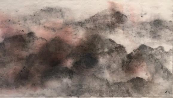 Déborah Furet - Paysage -  encre de chine , sanguine - 2021
