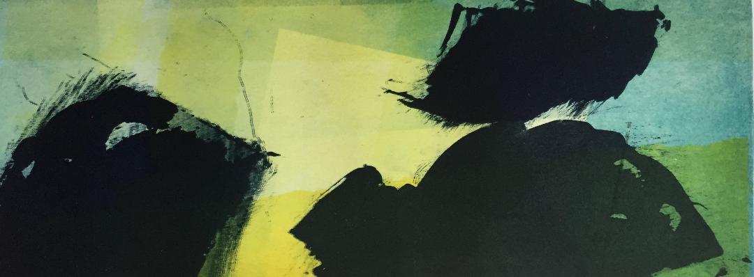 Marie -Clémentine Marès - graveur /plasticienne - Aquatinte imprimée sur chine appliquée et marouflée sur BFK Rives 40x50cm -  format gravure 16X40cm -    Tirage unique - de l'équation de la pivoine résoudre la torrentielle essence