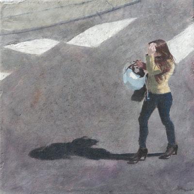 """Mehrzad Najand - peinture acrylique sur toile -"""" Ecole de commerce """"   20cm x 20cm - 2016"""