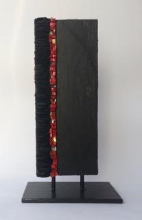 Véronique Darcon Caze - mosaique - petit totem- 8x20cm - ardoise et pâte de verre
