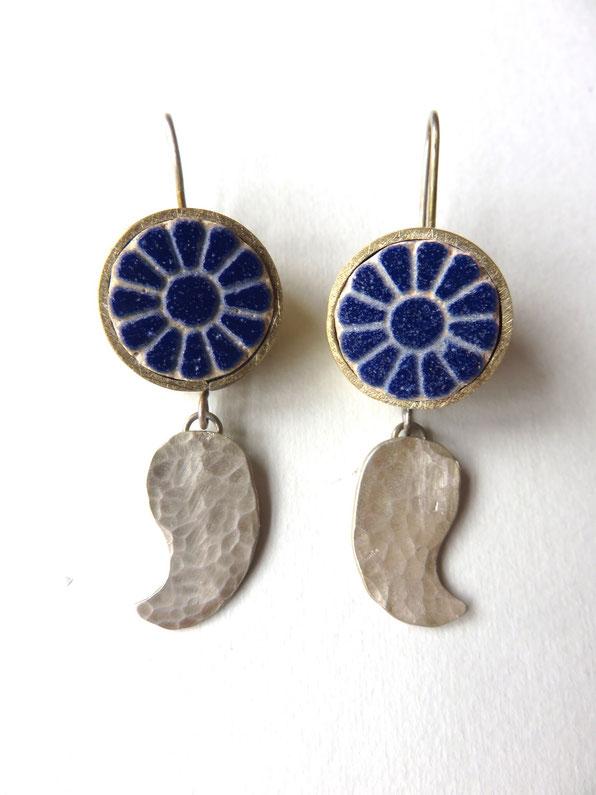 Afarin - boucles faites main - argent et laiton - motif provenant de la fleur de lotus (Achéménides, 6e-4e siècle avant JC)