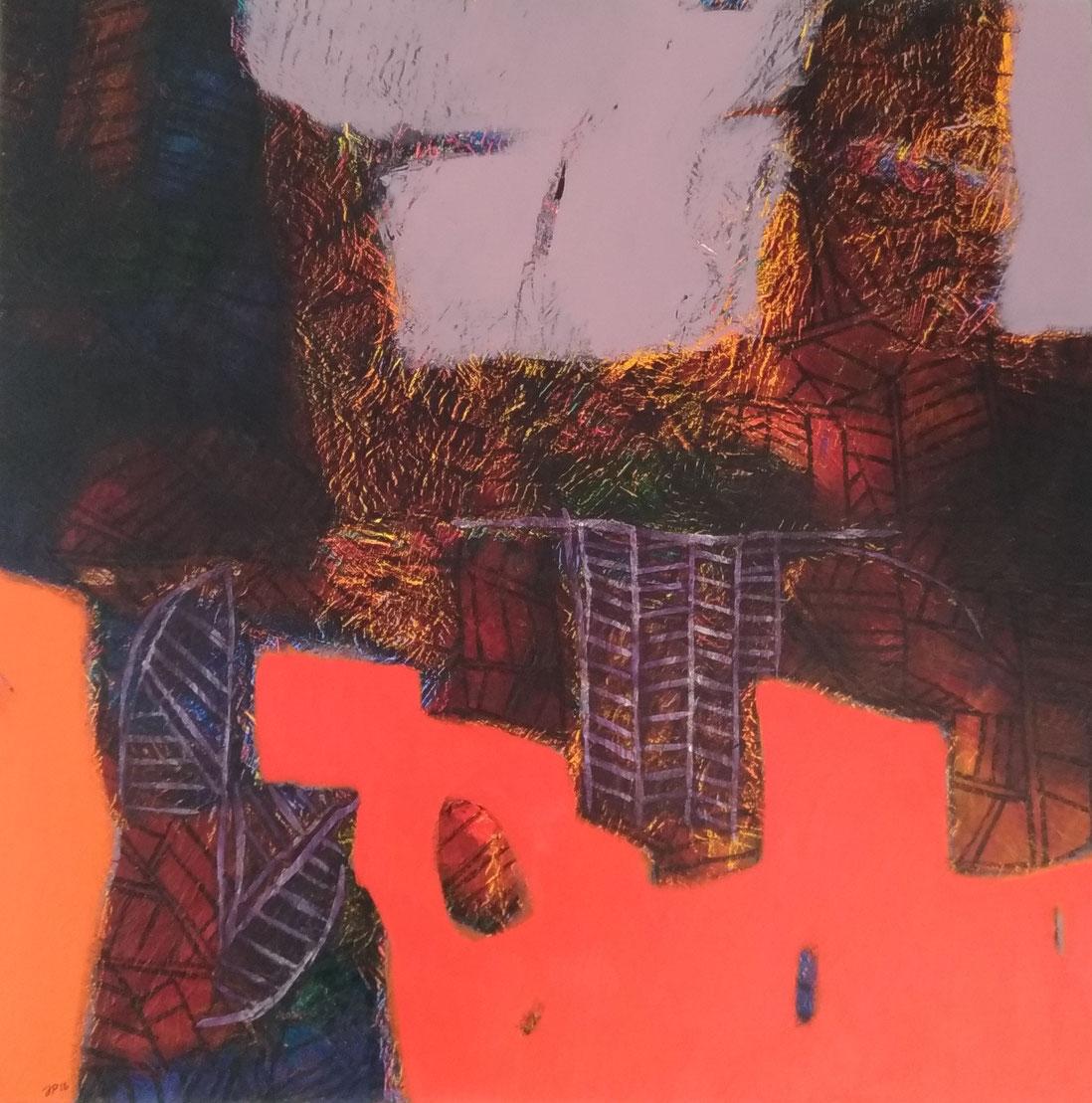 Jean-Pierre Plundr - Acrylique sur toile - Au-dessus de l'orange - 2018 - 80x80cm