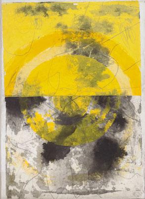 Cehel - Culte du soleil -  Encre et peinture marouflés sur toile