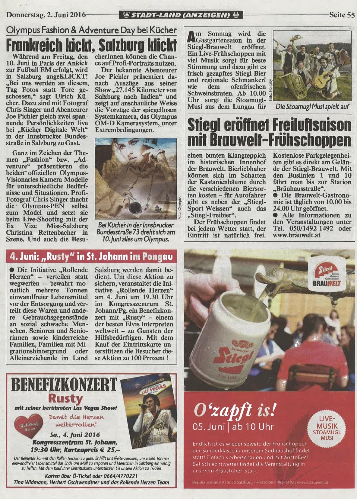 Artikel über den Olympus Fashion & Adventure Day in der Kronen Zeitung Salzburg, 02. Juni 2016