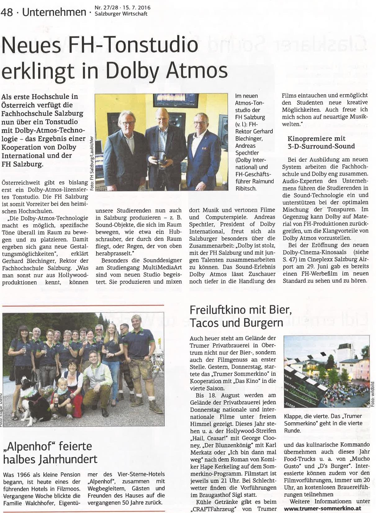 Salzburger Wirtschaft, 15. Juli 2016