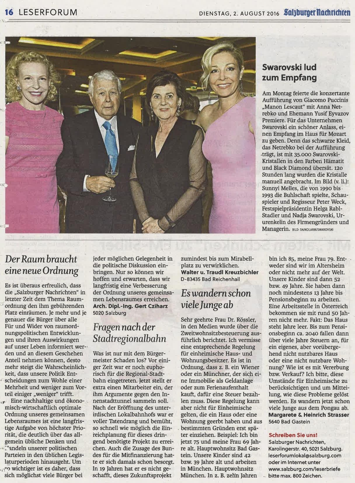 Artikel über den Cocktail-Empfang in den Salzburger Nachrichten, 02. August 2016