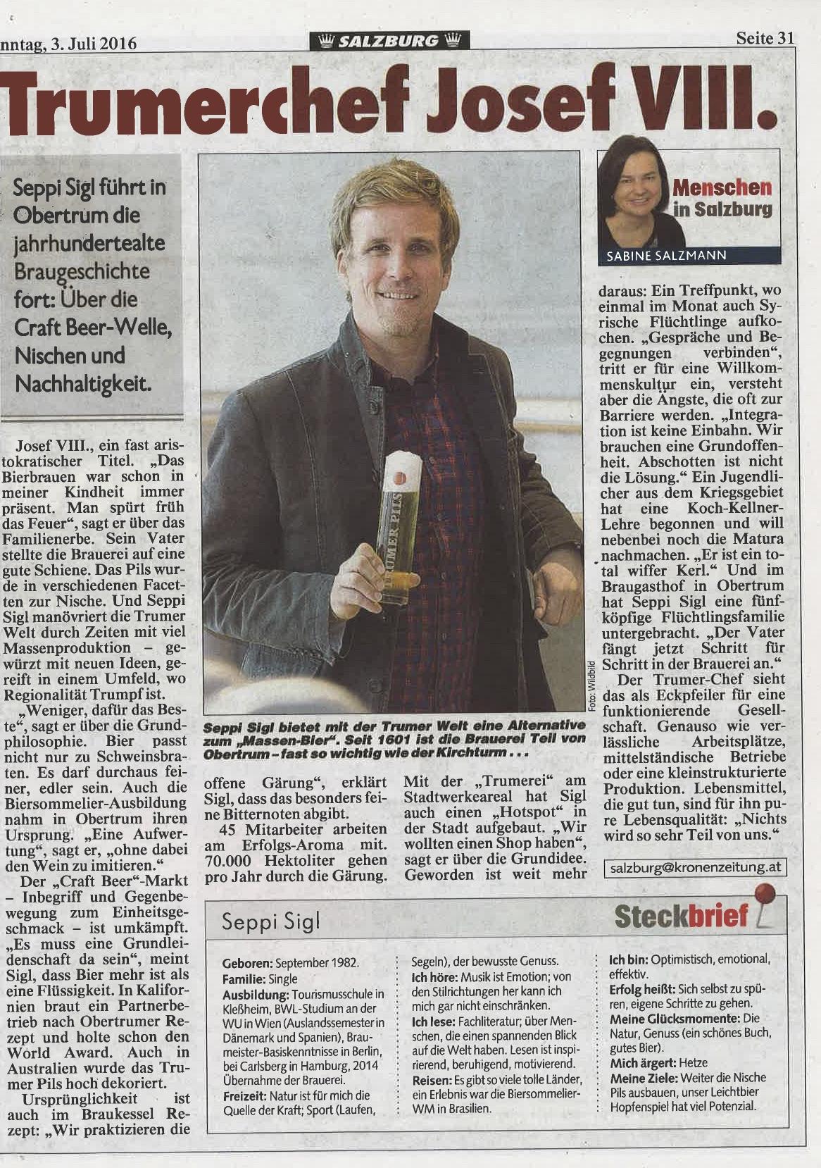 Kronen Zeitung Salzburg, 03. Juli 2016