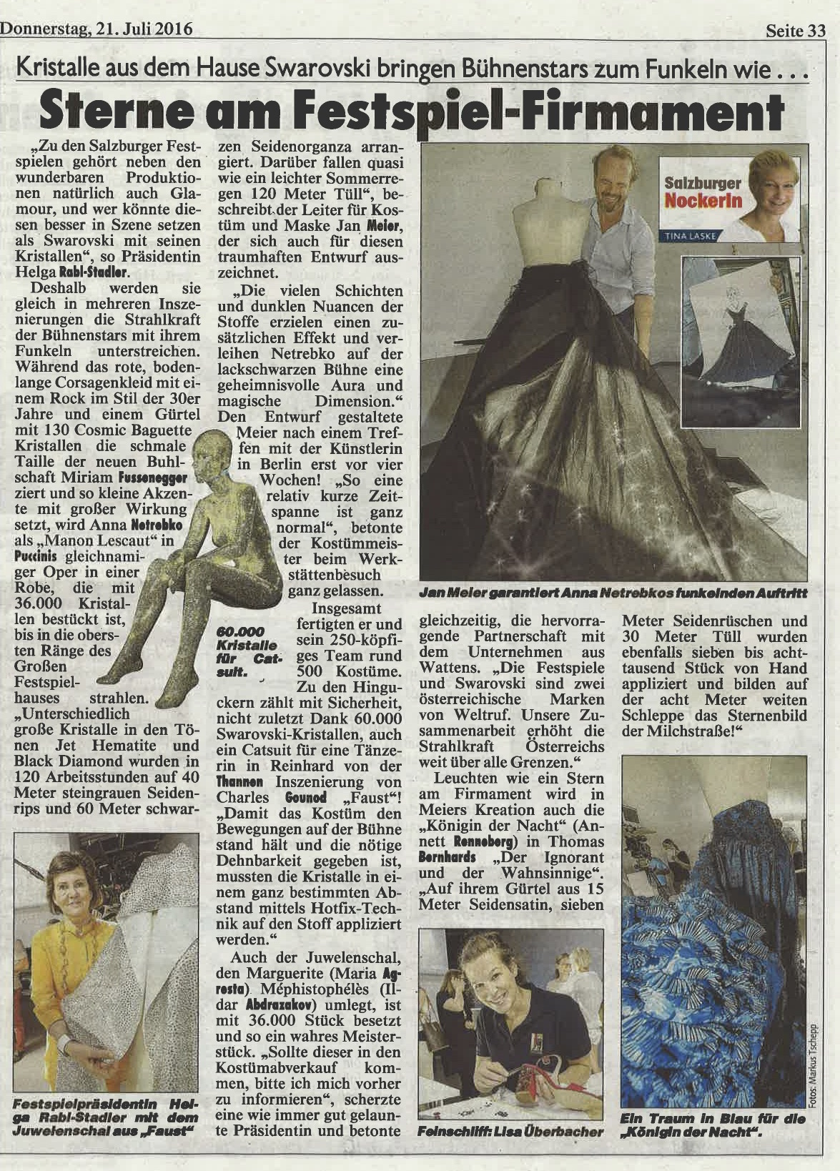 Bericht über die Kristallwerkstatt in der Kronen Zeitung Salzburg, 21. Juli 2016