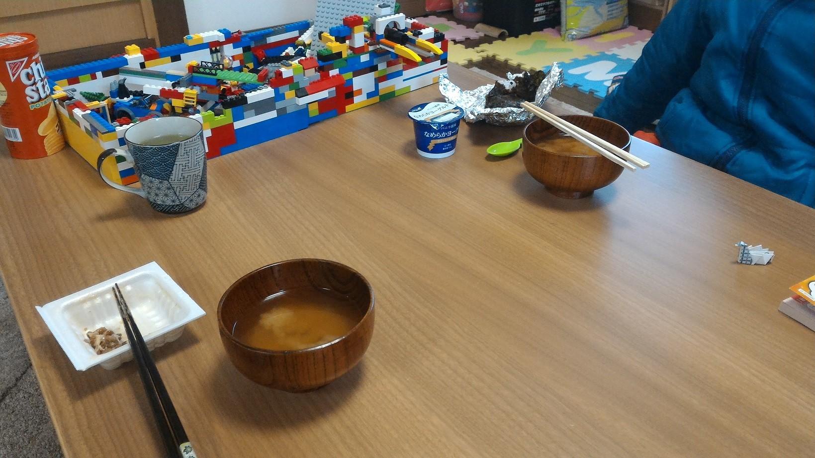 朝7時すぎ。生徒さんと朝食 with のび汁。