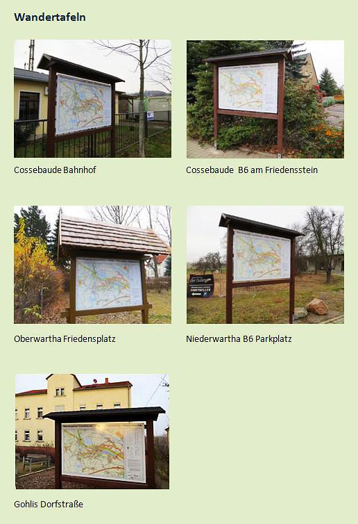 Standorte der erneuerten Orientierungstafeln, Fotos: B. Bruschke, 2012