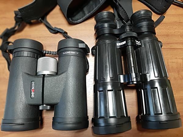 左はヒノデ8×42 HD D-1、右はツァイス7×42 dialytT*P*