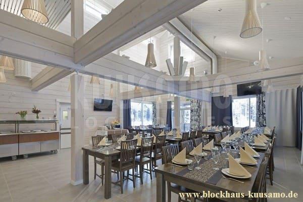 Blockhaushotel - Restaurant - Eine gute Planung ist die halbe Miete - Hotel im Blockhaus, Holzhaus, Blockhausbau - Komfortables Blockhaus von Innen - Maßgeschneidertes Holzhaus in massiver Blockbauweise - Neubau - Immobilie