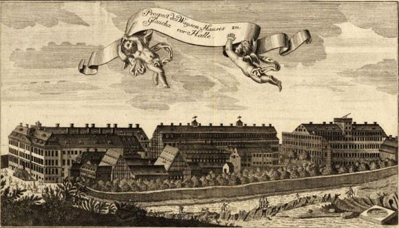 Gottfried August Gründler: Gesamtansicht der Glauchaschen Anstalt, Kupferstich, um 1730, Foto: Bildarchiv der Franckeschen Stiftungen