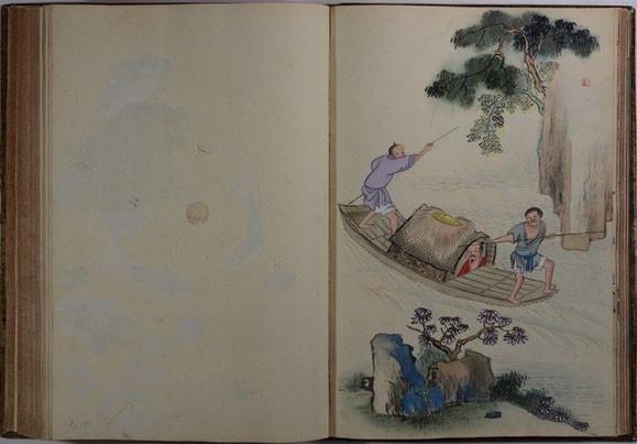 Zwei Bootsmänner staken ein Boot, China, um 1700 (Qing-Periode, Ära Kangxi), Aquarell, Staatliche Kunstsammlungen Dresden, Kupferstich-Kabinett, Inv.-Nr. Ca 137/123