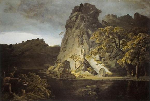 Dämonische Landschaft, um 1826. Reproduktion nach Ausst. Kat. Berlin 1990, Carl Blechen zwischen Romantik und Realismus