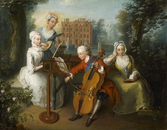 Friedrich Ludwig von Hannover, Prinz von Wales, musiziert mit seinen Schwestern, Philipp Mercier, 1733, Öl auf Leinwand, London, National Portrait Gallery, NPG 1556