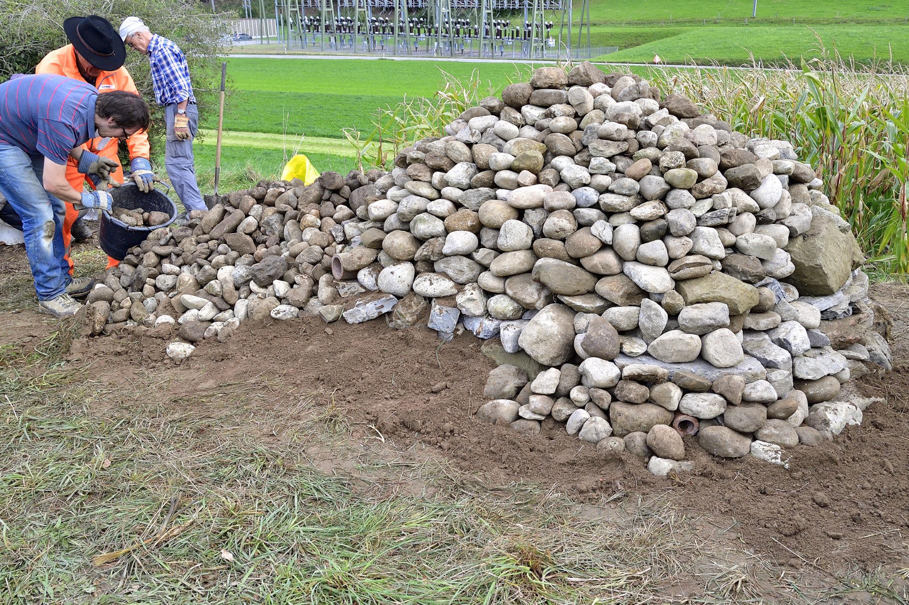Steinhaufen wächst zur endgültigen Grösse