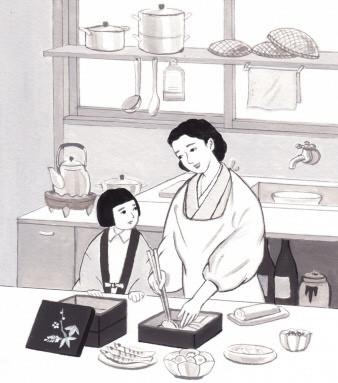 台所でおせち作り