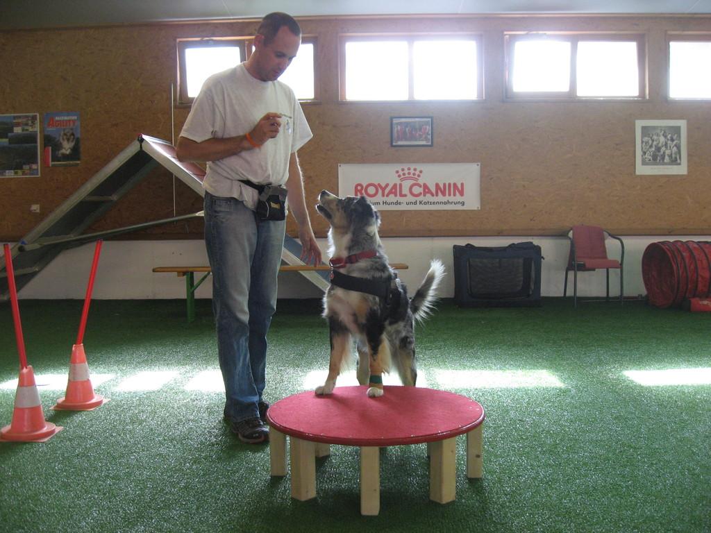 """Ronny und Kyra bei der Übung """"Hocker"""""""