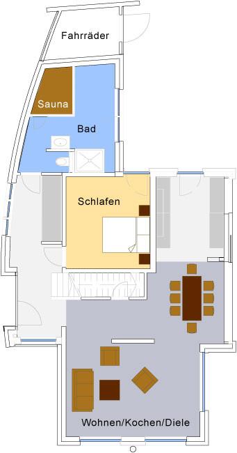 Grundriss des ergeschosses Strandhaus Karlshagen
