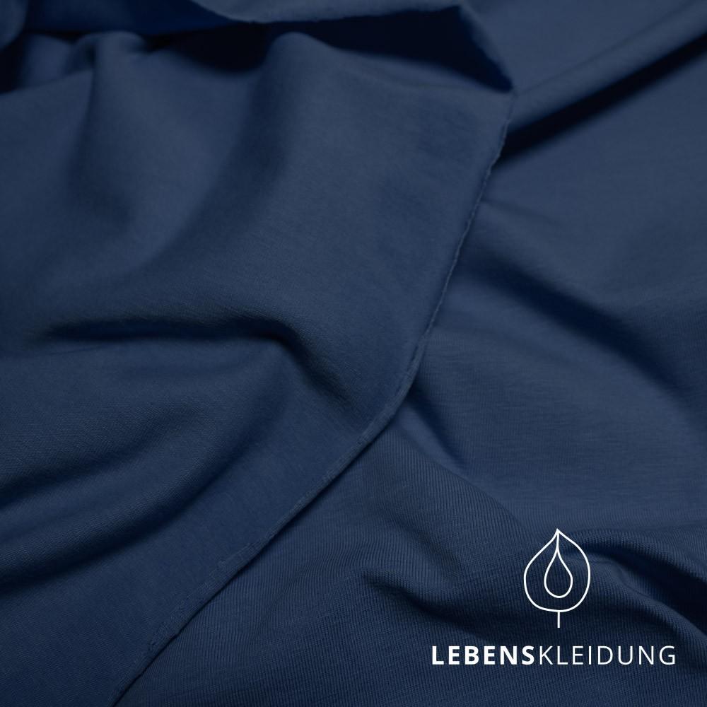 Navy dunkelblau,Biobaumwoll- Jersey (GOTS) Lebenskleidung,95% Baumwolle, 5% Elasthan,170g/m2, 170cm