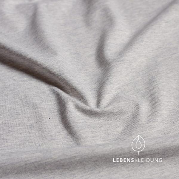 Hellgrau meliert, Biobaumwoll- Jersey (GOTS) Lebenskleidung, 95% Baumwolle, 5% Elasthan,180g/m2, 170cm