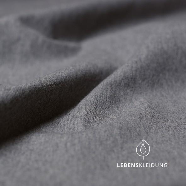 Dunkelgrau meliert, Biobaumwoll- Jersey (GOTS) Lebenskleidung, 95% Baumwolle, 5% Elasthan,180g/m2, 170cm