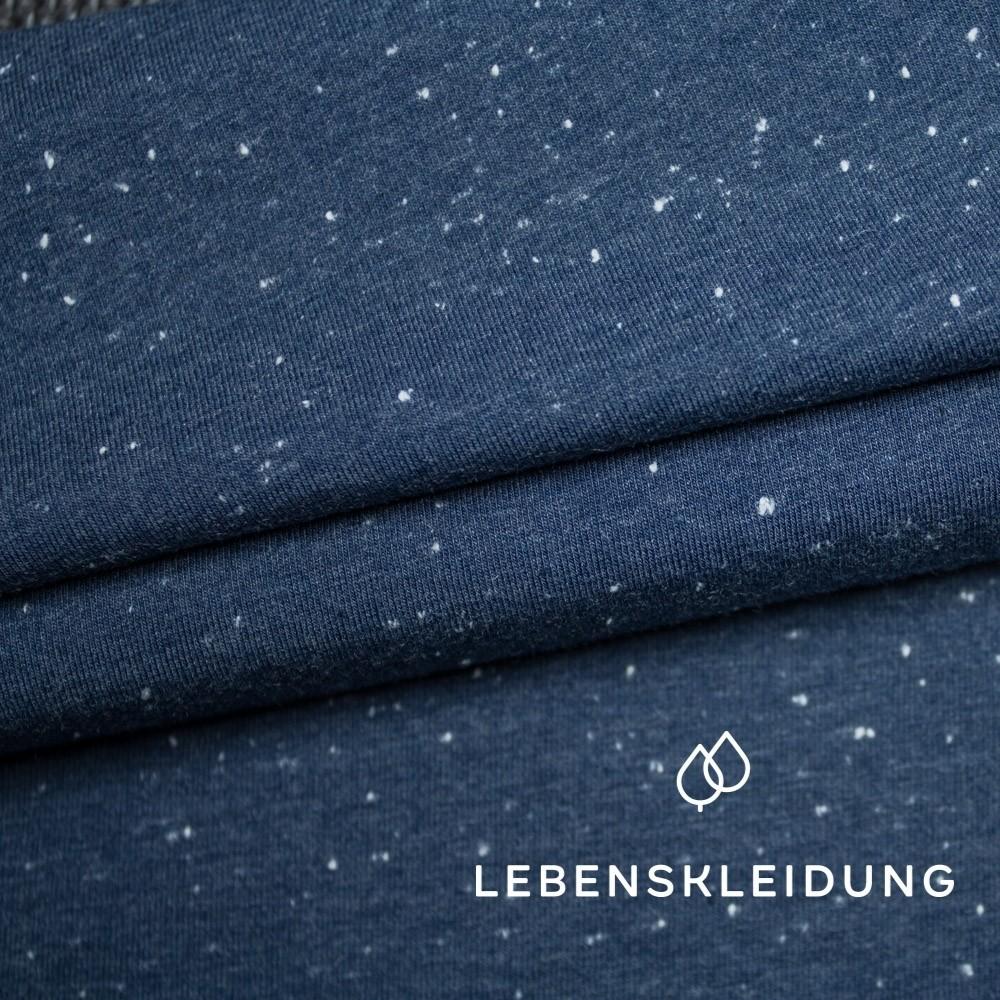 Blau mit weiß gesprenkelt,BioNeps- Jersey Lebenskleidung,95% Baumwolle, 5% Elasthan,170g/m2, 180cm