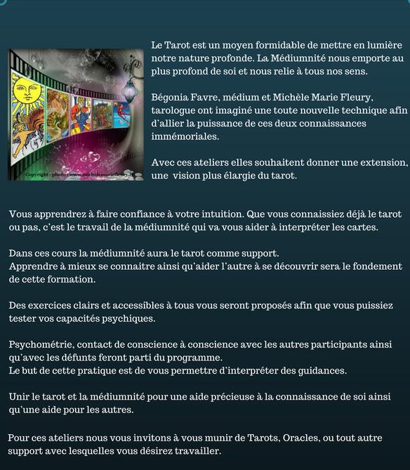 Cours Tarot Médiumnité, Michèle Fleury, Michèle Marie Fleury, Bégonia Favre