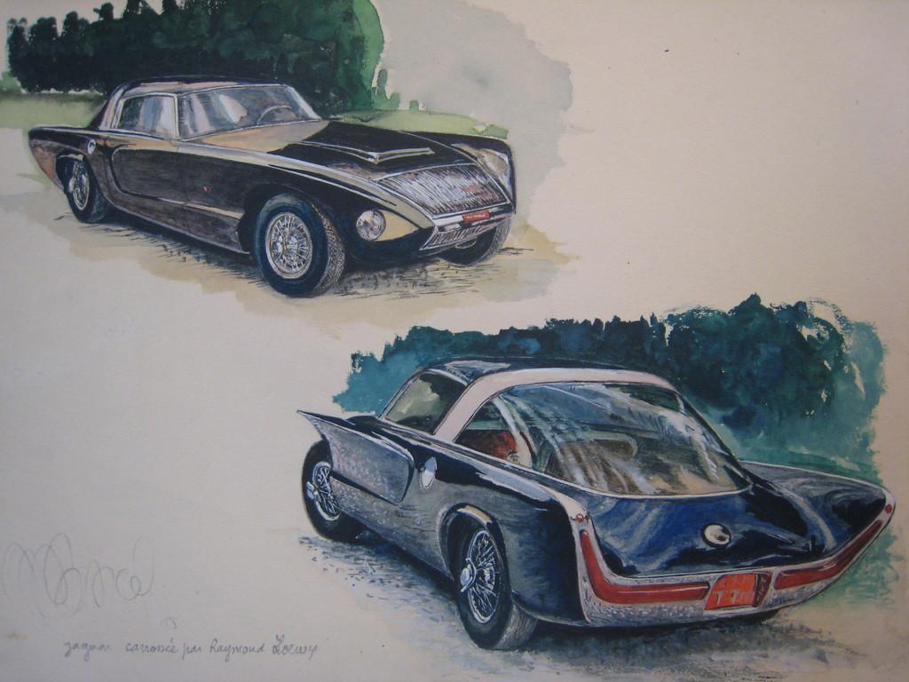 aqarelle d'après document Jaguar carrossée par Raymond Loewy