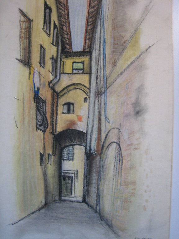 ruelle à Pise 1959 (pastel )     coll. priv.
