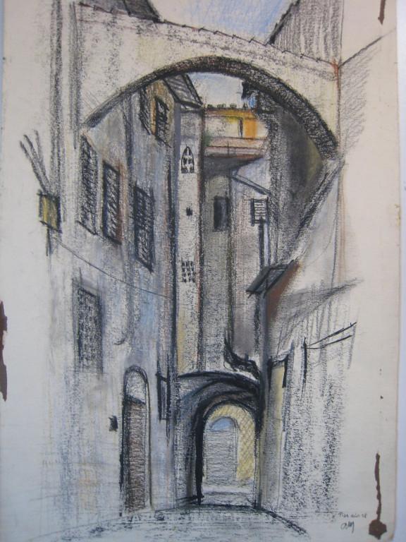 ruelle à Pise 1959 (pastel)       coll.priv.
