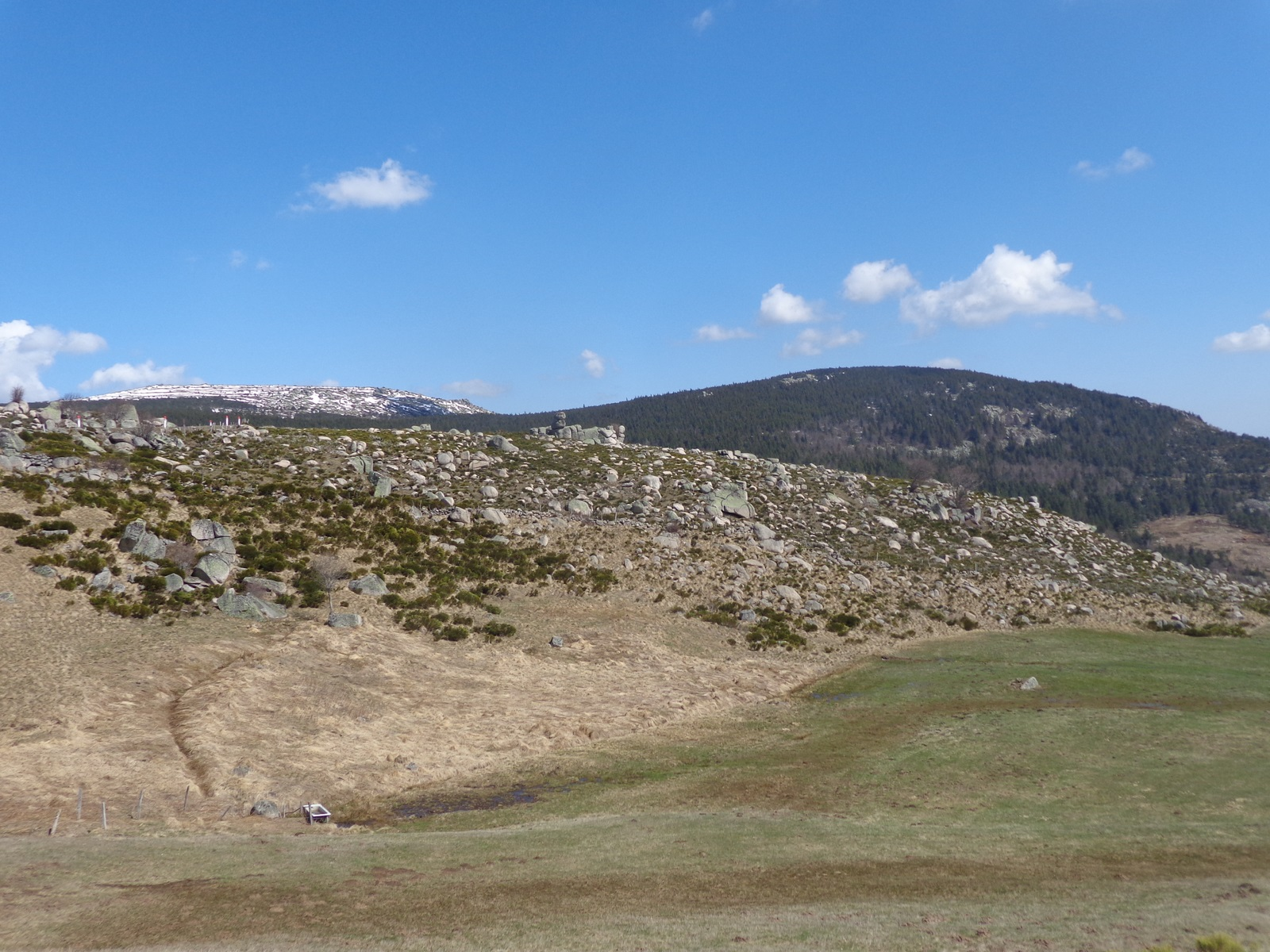 La descente du col de Finiels. Le paysage est grêlé de granit.