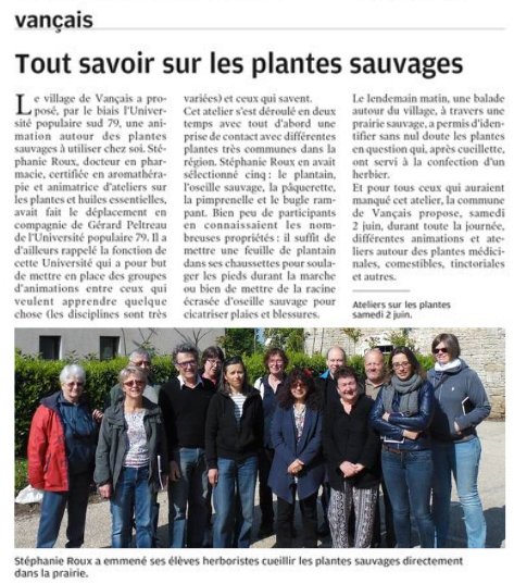 Reconnaissance plantes sauvages avec herbier pour l'université populaire du Sud Deux-Sèvres basée à Melle