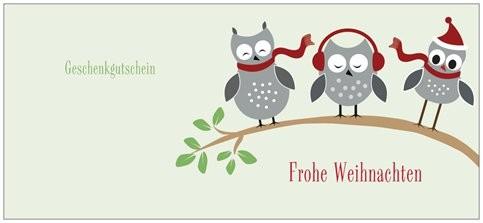 Gutschein/ Eule/ Vorderseite/ kostenlos AJÁNDÉKKÁRTYA KARÁCSONYRA - INGYENES