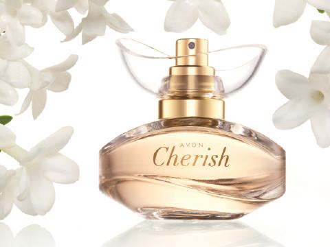 CHERISH: Eau de Parfum Spray. 50 ml. 28 €. BLUMIG, FRUCHTIG, HOLZIG. Arabischer Jasmin, edler Moschus, cremiges Sandelholz.