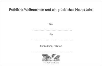 Gutschein/ Frohes Fest/ Rückseite