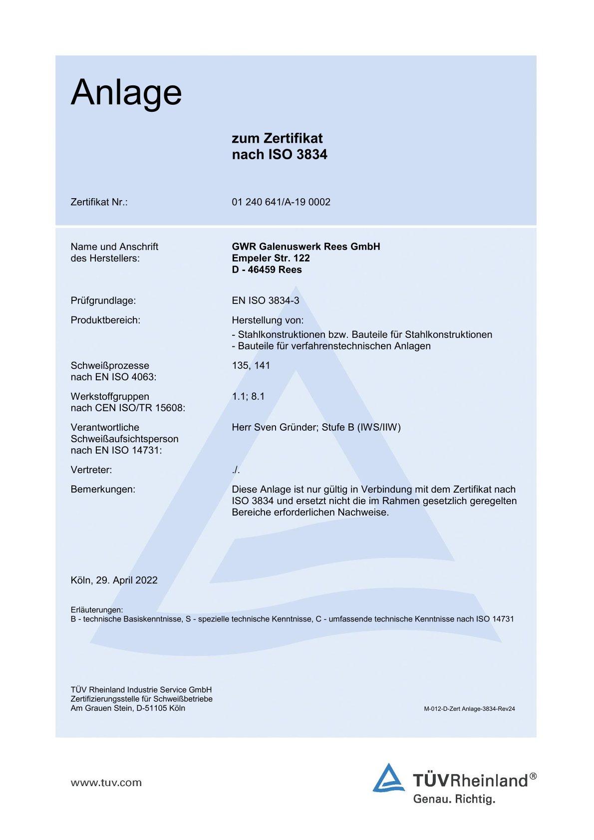 Zertifikat zur Überprüfung der schweißtechnischen Qualitätsanforderung durch den TÜV.