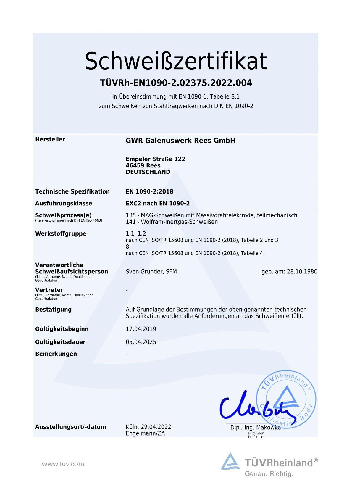 Schweißzertifikat des TÜV Rheinland.