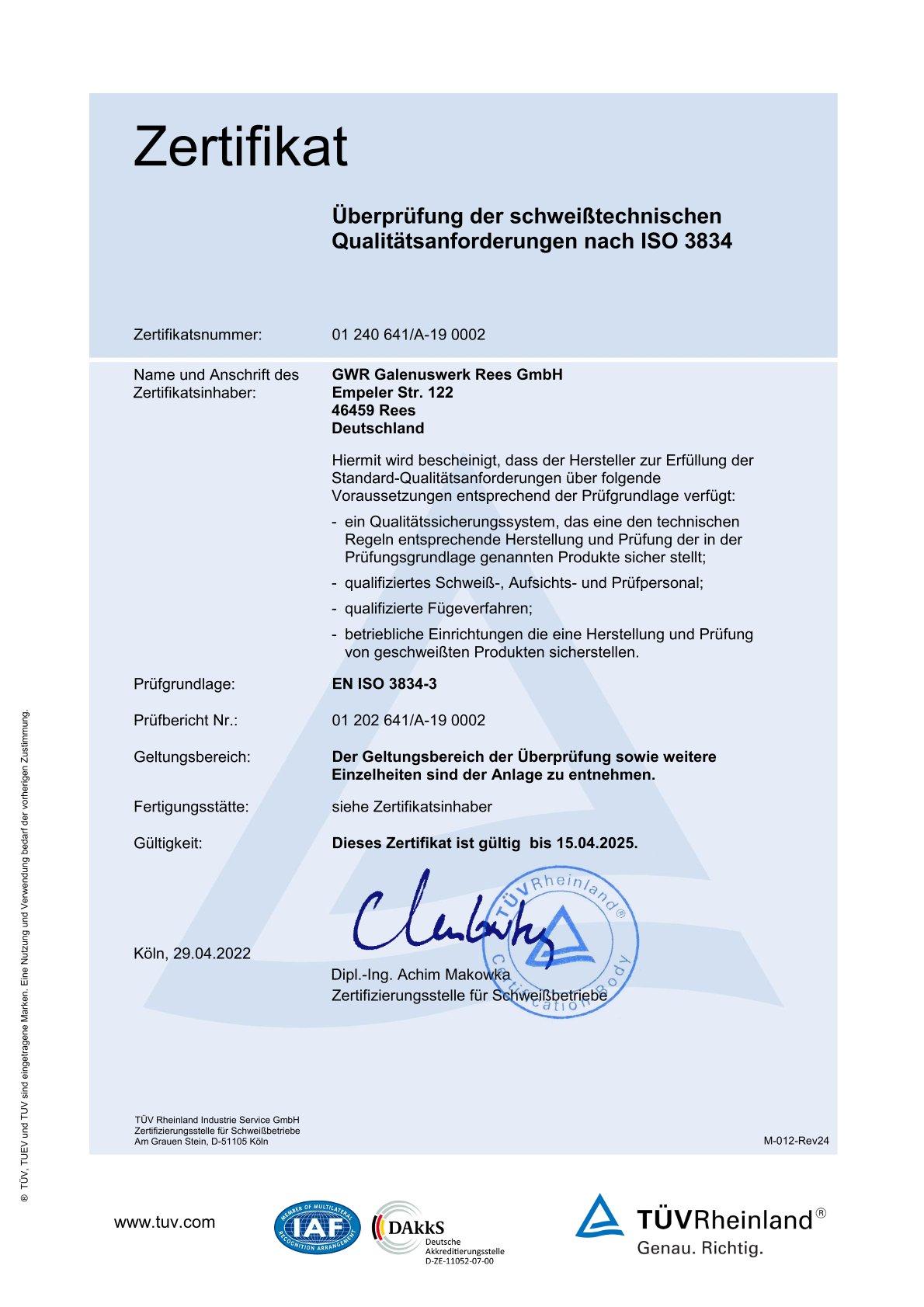 Zertifikat Metall- und Sondermaschinenbau