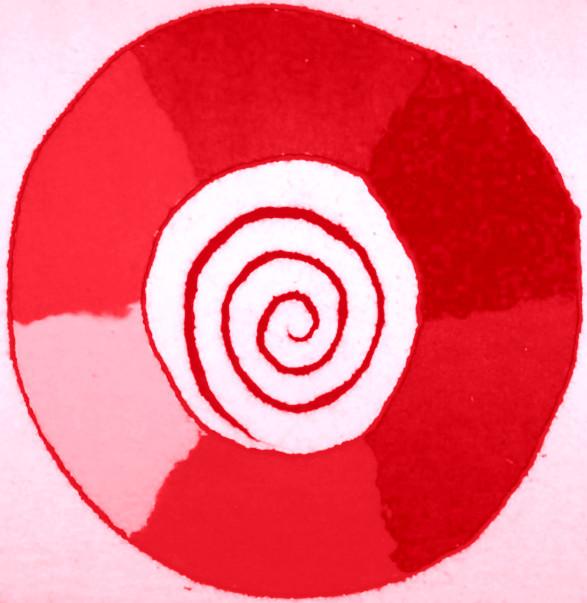 eine rote Spirale, die den Weg in den Anus symbolisiert