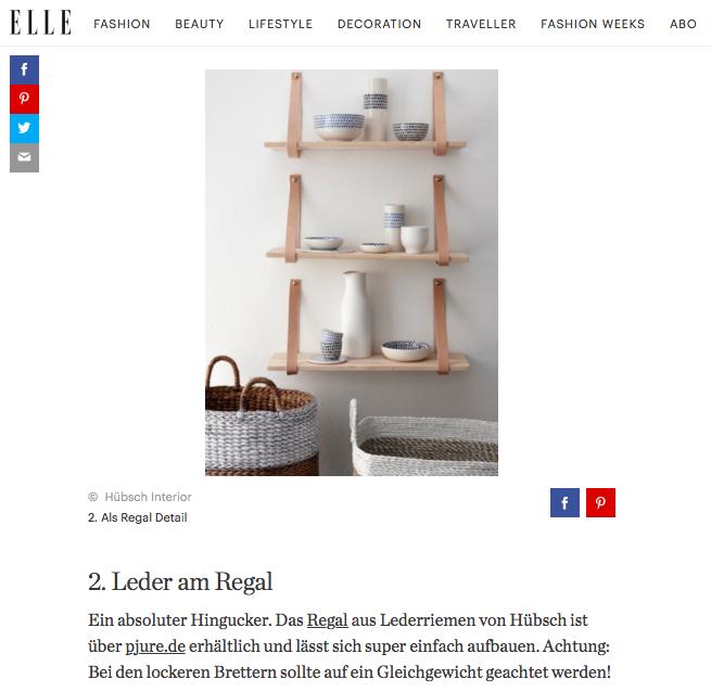 Elle.de Posting vom 10.02.2017 Regal 'Lederriemen'