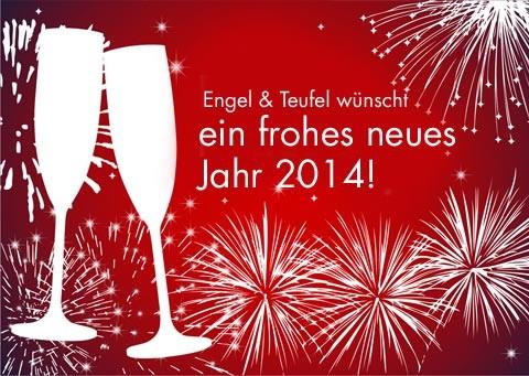 Engel und Teufel wünscht ein frohes neues Jahr 2014